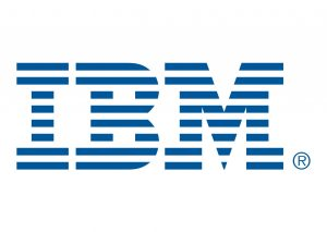 IBM logo, classic blue horizontal lines on white spelling acronym
